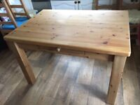 Solid Pine Rustic Farmhouse Kitchen Table with Drawer Antique Finish