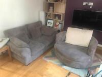 2 seat sofa and 360 rotating armchair set