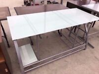 Large Modern Grey Metal Office Study Desk with Glass Top Delivery Available