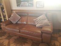 Hopewells Aniline Tan Leather sofa and chair