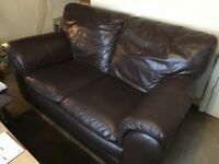 2 seater brown leather sofa, very good condition no marks on leather