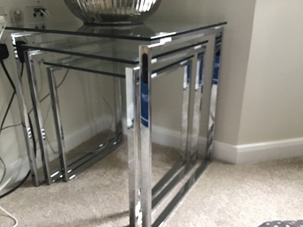 Next Palmo Nest Of 3 Glass Silver Side Tables In Ware Hertfordshire Gumtree