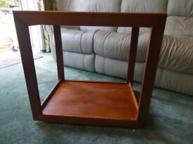 Side Table - wooden / two tier / on wheels