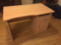 Office desk - light wood finish - excellent condition.