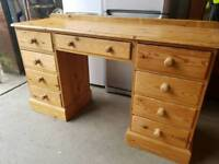 Large pine dresser table with drawers