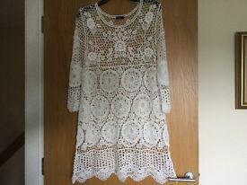 Ladies white crochet dress size 16