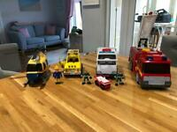 Fire engine/fire rescue/police helicopter/ambulance & characters