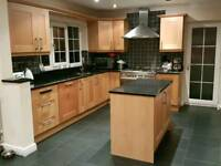 Kitchen (beech) with black granite worktop