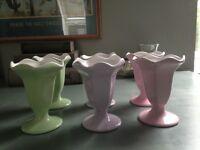 Six pastel ice cream sundae dishes