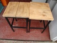 RUSTIC-LOOKING WOOD AND METAL STOOLS (PAIR)
