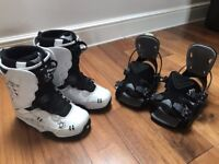 Northwave Snowboard Boots, white size 7 and Flow step in bindings, Good condition