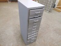 12 drawer metal tool cabinet 11.5 ins wide x 17 ins deep x 36 ins high. excellent condition