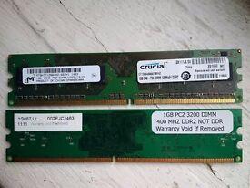 2Gb (2 x 1GB) DDR2 RAM memory