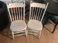 Dining Table Chairs x2 - Shabby Chic / Vintage / Retro