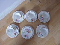 "Royal Stafford ""Sweetpea"" Vintage Gold Gilded English Bone China Tea Set"