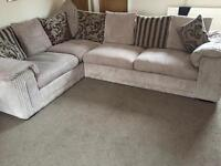 Corner sofa with huddle chair and footstool