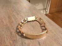 9ct gold gents heavy identity bracelet 47g