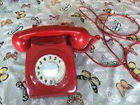 Retro Original Red Turn Dail Telephone