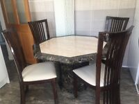 Dining table and 4 high backed chairs