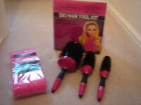 Big hair, 3 hair brushes and sleep in rollers - new