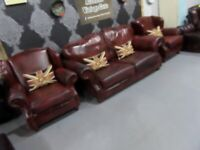 Fantastic Chesterfield Style 3 Seater Sofa & 2 Matching chairs in Oxblood Leather