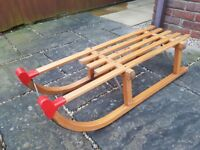 Vintage 'Made in Germany' wooden sledge with metal runners