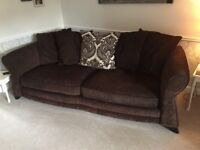 Brown chenille 3 seater sofa and chair