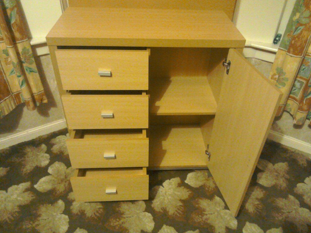 "Chest of drawers. Four drawers and cupboard spacein Helensburgh, Argyll and ButeGumtree - Chest of drawers. Four drawers and cupboard space. Chip on top edge. See photos. Otherwise good clean condition. W 32"" H 35"" D 16"""