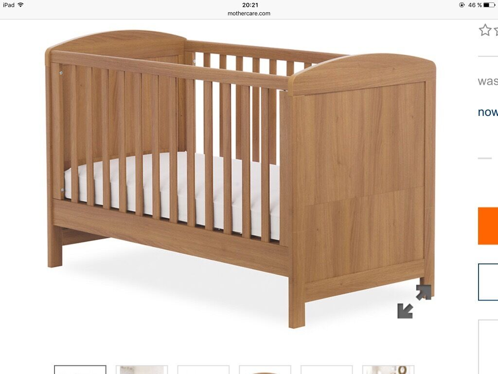 mothercare oak cot bed. mothercare washable mattress included. two