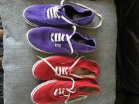 Ladies Vans size 5.5 never been worn. 1 purple pair, 1 red pair