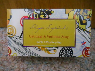 SHUGAR SOAPWORKS OATMEAL AND VERBENA BAR SOAP 6.25 oz. NEW SUGAR