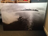 Large Canvas Print - 1.5m by 1m - surfer in the Maldives