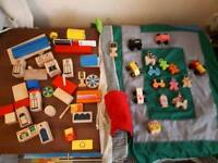 Wooden town with play mat, people, cars, houses, shops