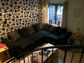 DFS Black Left Hand Facing Pillow Back Corner Sofa