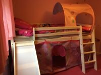 Girls cabin bed with slide and mattress