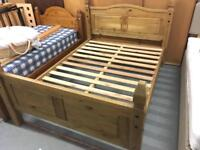 "4'6"" Double Rustic Pine Bed Frame"