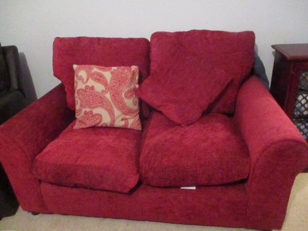 red chenille sofa   in dereham, norfolk   gumtree