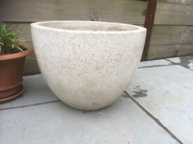 VGC polished concrete bowl interior planter, Ivory colour, 40cm diameter, 31cm high (RRP £35)