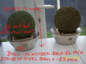2 FAUX DECORATIVE BALLS/TOPIARY,2 STAINLESS STEEL DECO STYLE BOWLS