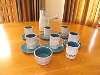 Saltings Pottery glazed stoneware coffee set - grey, blue with brown border