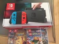 Nintendo switch neon and 5 games