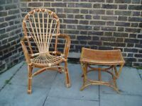 FREE DELIVERY Antique Bamboo Table And Chair Retro Vintage Furniture