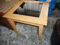 solid wood small coffee table with black glass insert