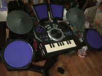 xtreme drumset, drum kit, keyboard, dj scratch pad and more