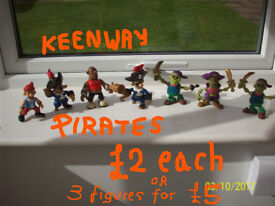 KEENWAY PIRATE SHIP WITH SOUNDS+CAPTAIN-£6,ALSO 7 KEENWAY PIRATES INCLUDING GHOST PIRATES-£2 EACH
