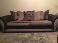 DFS 4 Seater Sofa & Cuddle Chair Brown & Cream