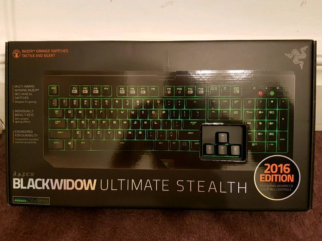 9d43c49379a Razer BlackWidow Ultimate Stealth 2016 Quiet Mechanical Gaming Keyboard (UK  Layout)