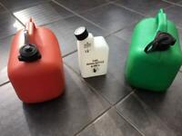 PETROL CANS & 2 STROKE MIXING BOTTLE.