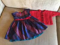 Girls Christmas Party Dress and hand knitted cardigan age 9-12 months