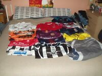 A CARBOOT JOBLOT OF 13 X ASSORTED FOOTBALL &RUGBY SHIRTS ALL MINT OFFICIAL CHILDS & ADULTS
